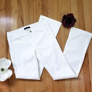 WHBM Blanc White Rhinestoned Boot Leg Jeans 2R